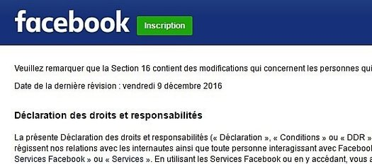 Facebook Conditions Dutilisation Et Politique De Confidentialite